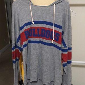 grey, blue & red fresno state bulldog sweatshirt